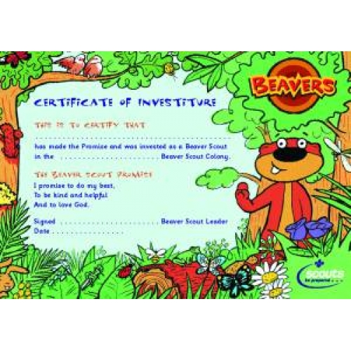 Beaver Scout Investiture Certificates